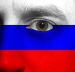 face with the Russian flag painted on it