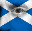 face with the Scottish flag painted on it