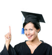 Graduating student in black academic gown