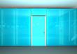 blue glass office wall