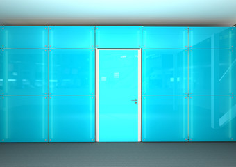 blue glass office wall