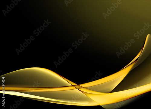 Elegant yellow waves on dark background