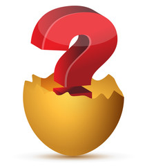 illustration of egg with red question mark