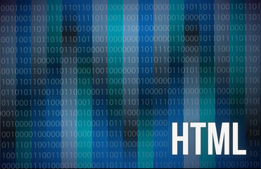 HTML Abstract on Blue Background Digital Tech