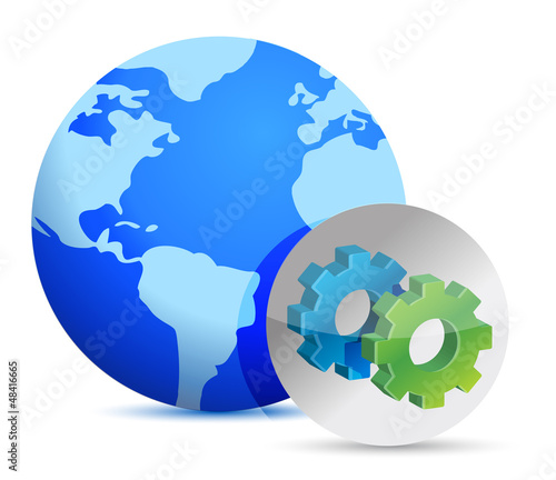 earth and sign showing gears.