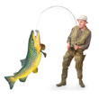 The Fisherman with big fish (Brown Trout - Salmo Trutta).