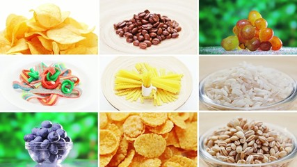Collage (montage) of many food ingredients rotating