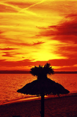 sunset in a beach of Formentera, Balearic Islands, Spain