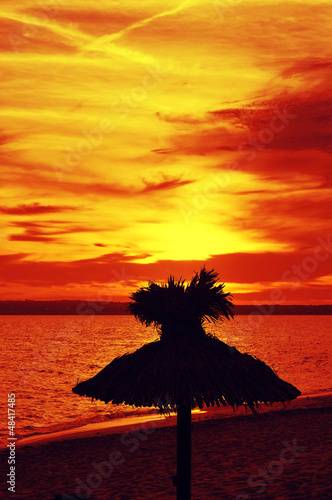 sunset in a beach of Formentera, Balearic Islands, Spain