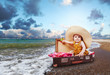 Travel concept image with baby in suitcase