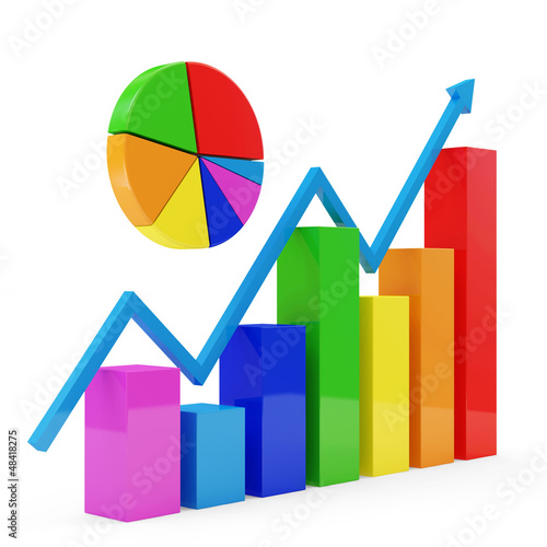 Colorful Business Graph with Pie Chart