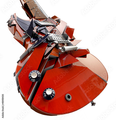 smashed guitar isolated on white