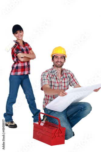 Laborers with a tool box