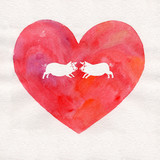 watercolor heart with two piggies
