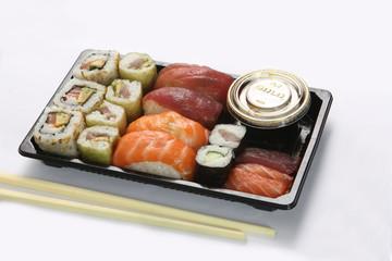 Neatly arranged sushi