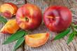 fresh nectarines on wooden  background