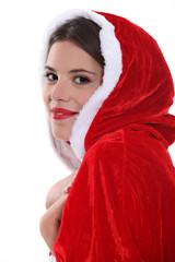 Brunette wearing festive outfit