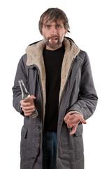 adult man holding bottle