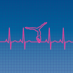 EKG gymnast heartbeat pattern