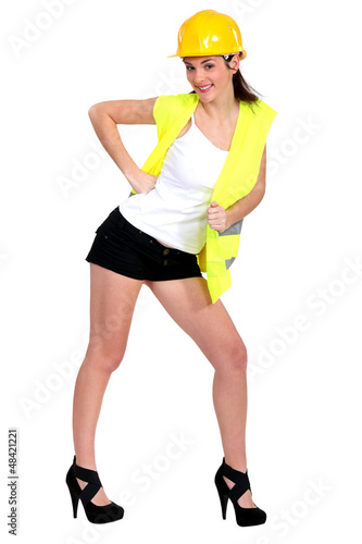 Woman in hotpants and a hardhat