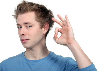 Man making ok gesture