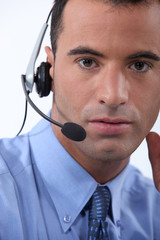 Male call-center worker