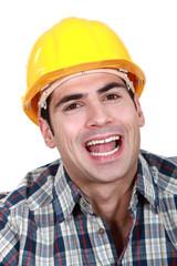 Landscape Portrait of smiling worker