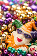 Colorful, Plastic Mardi Gras Beads with Jester