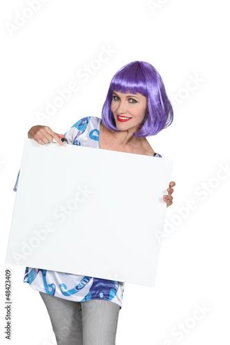 Woman wearing a wig