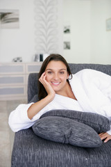 woman relaxing on the couch