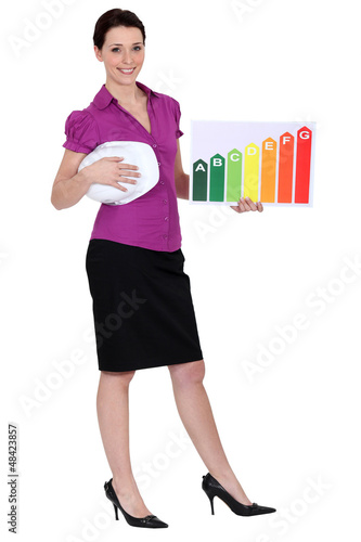 Woman holding energy information