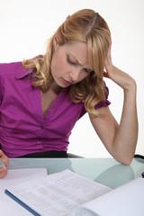 Woman filling in paperwork