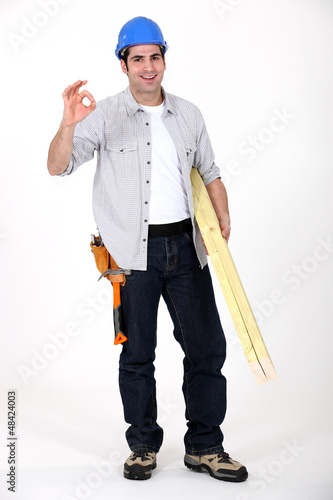 Builder doing an OK sign