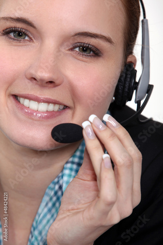 Female call centre agent