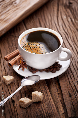Cup of coffee with brown sugar.