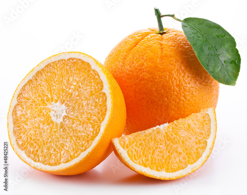 Orange with leaf on a white background.