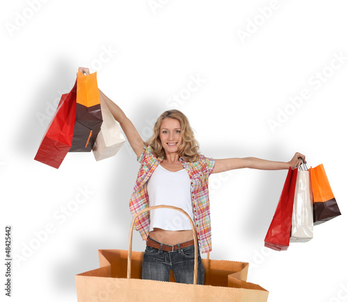 shopping addict in a shopping bag