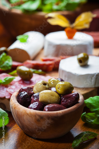 Fresh olives with antipasto catering platter