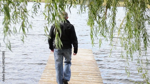 man walk wood lake bridge pier willow tree swan bird meet angry