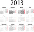 Solid calendar grid for 2013