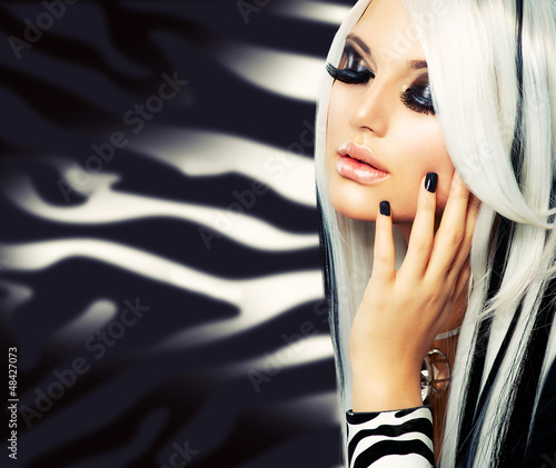 Plakat na zamówienie Beauty Fashion Girl black and white style. Long White Hair