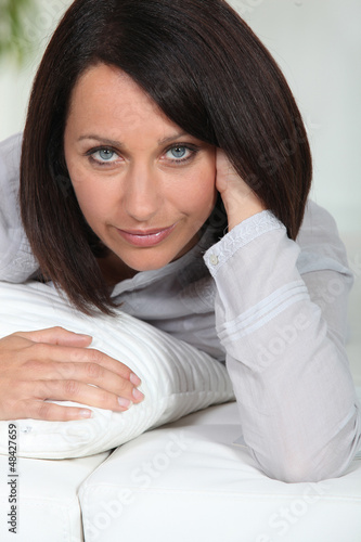 Portrait of a woman at bedtime