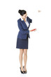 Attractive businesswoman holding blank board