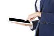 Attractive businesswoman using tablet computer