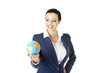 Young beautiful businesswoman holding the globe