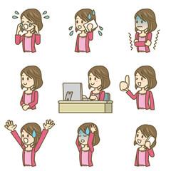 女性 イラスト 上半身 喜怒哀楽 02