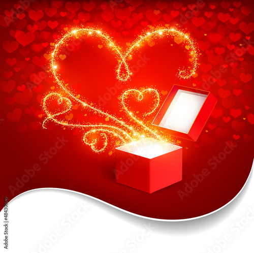 Open box with bright hearts