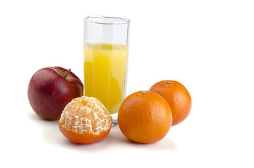 juice with fruit on a white background