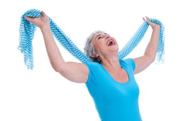 Endlich Rente - Freiheit pur - ältere Frau isoliert