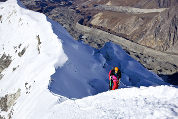 Climbing Island Peak (Imja Tse) in Nepal. Mount summit.